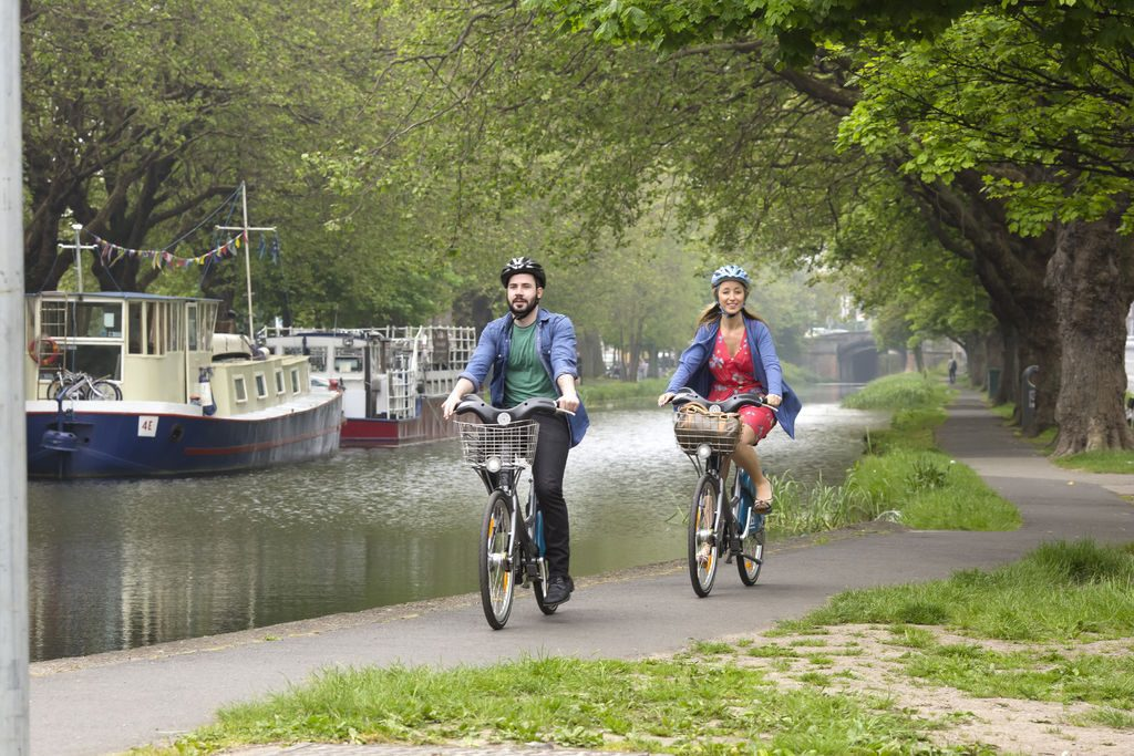 Cycling along the Grand Canal Dublin