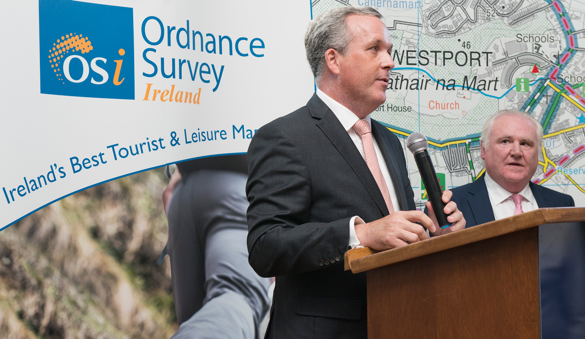 Colin Bray CEO Ordnance Survey Ireland at the launch of the Mayo Adventure Series maps